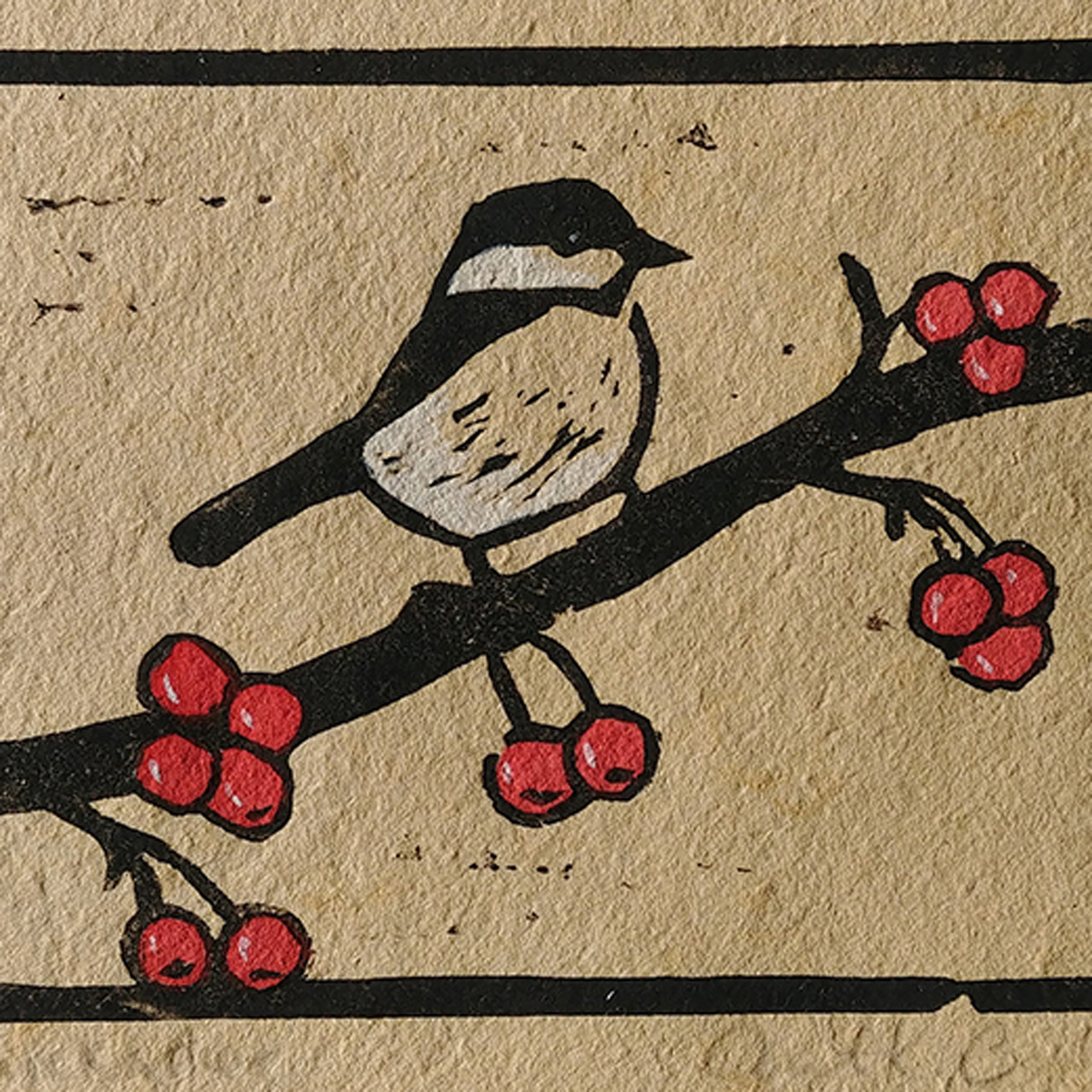 Chickadee print on handmade paper